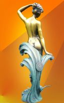 "SERENE ART DECO, "" The Wave "", BRONZE  STATUE"